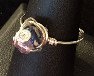 Blue Shell Sterling Silver Wire Wrapped Ring
