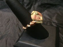 Load image into Gallery viewer, Unakite Flower with Textured Copper Coils Wire Wrapped Ring