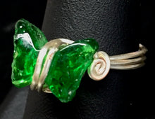 Load image into Gallery viewer, Green Glass Butterfly Silver Plated Copper Wire Ring