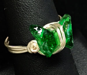 Green Glass Butterfly Silver Plated Copper Wire Ring