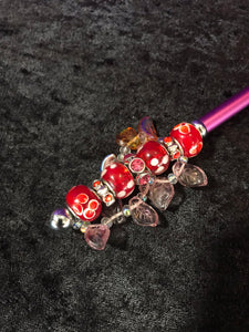 Red Flowers and Glass Leaves Beaded Stylus