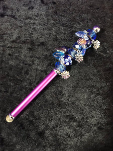 Blue Leaves and Flowers Beaded Stylus