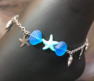 Starfish in the Deep Blue Sea Stainless Steel Anklet