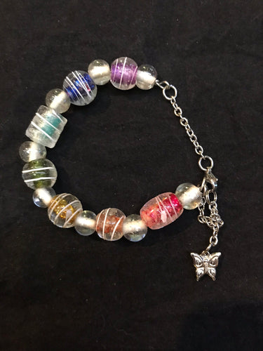 Rainbow Glass Bead Stainless Steel Bracelet I