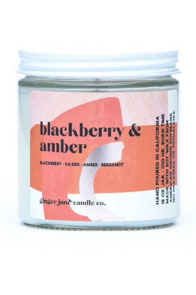 16 oz Blackberry Amber Scented Candle - late bird