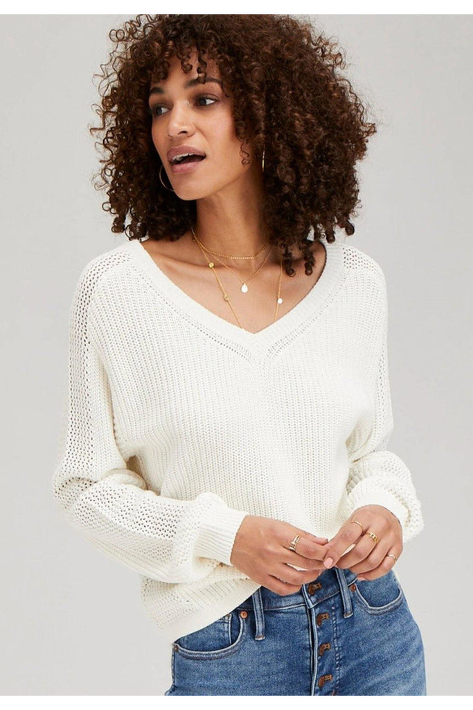 Aline Sweater in White - late bird
