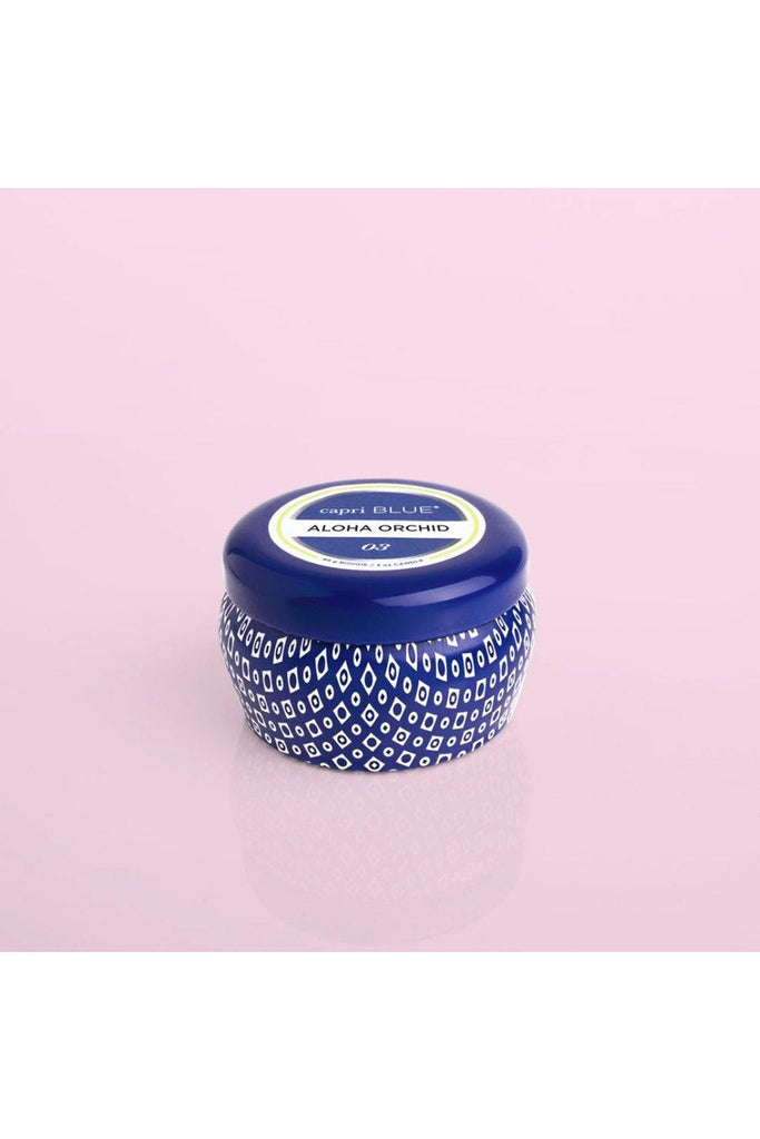 Aloha Orchid Blue Mini Tin Candle - late bird