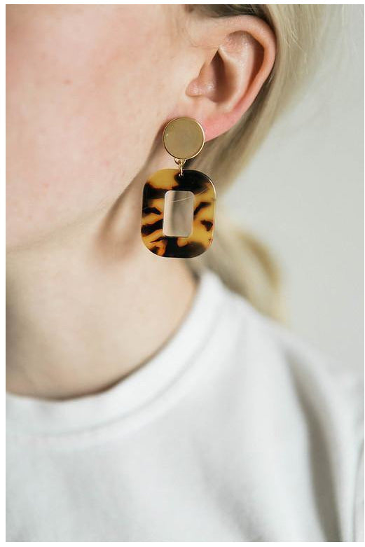 Amber Tortoise Acrylic Square Earrings - late bird