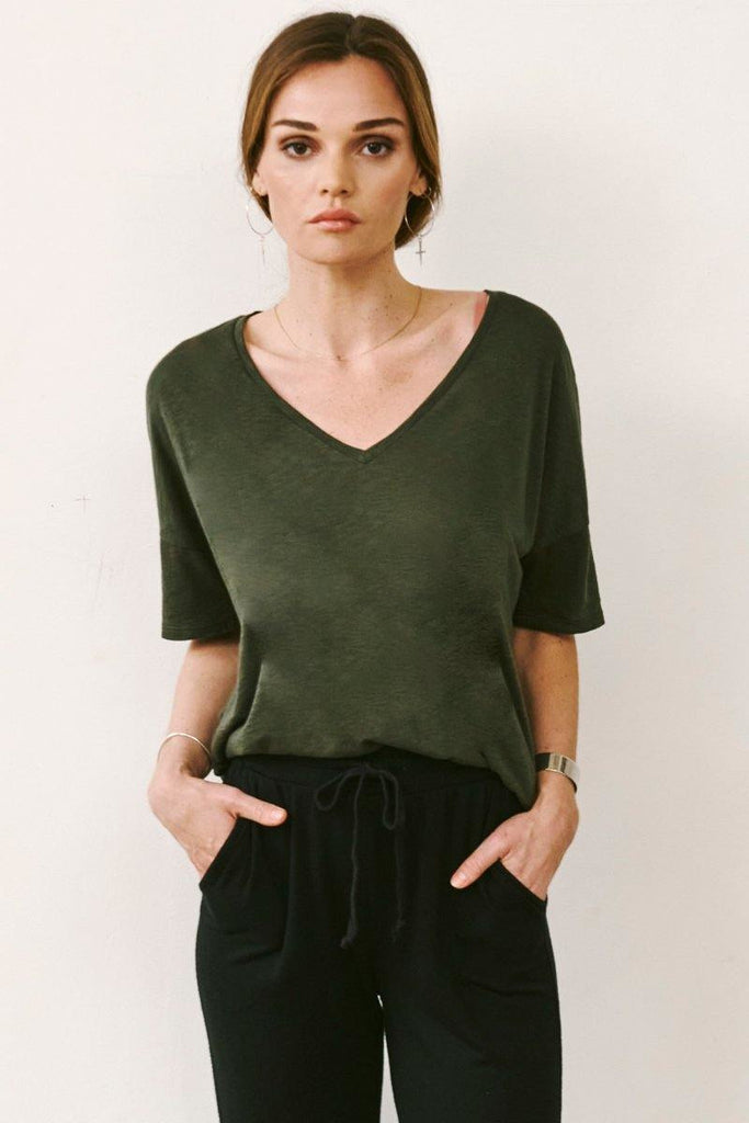 Boxy V-Neck Tee with Mesh Stripe Back - late bird