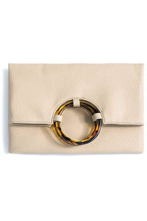 Cameron Foldover Clutch in Ivory - late bird