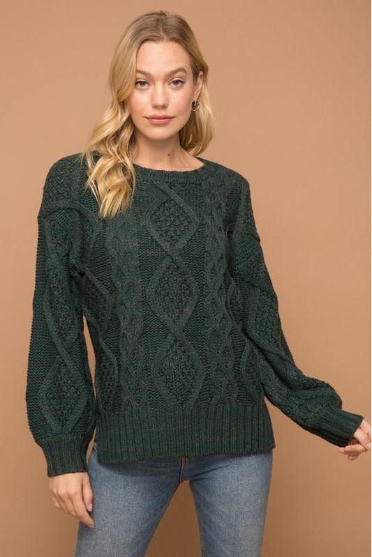 Chunky Cable Knit Sweater - late bird