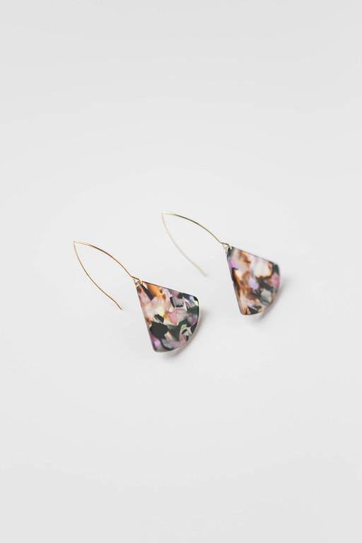 Confetti Mix Acrylic Slice + Wire Earring - late bird