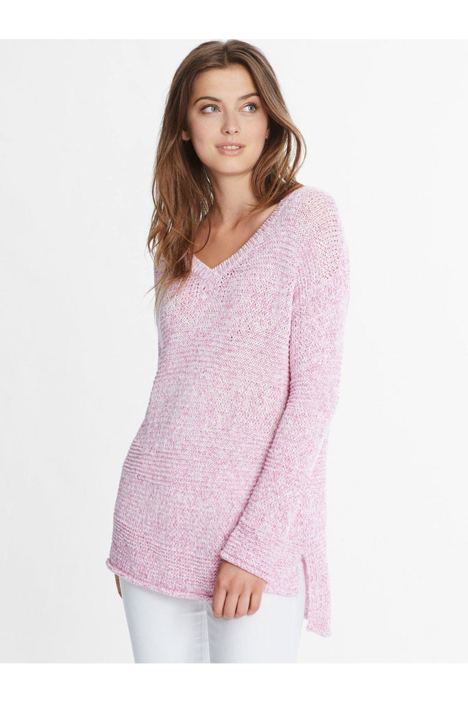 Cotton Mix Stitch V-Neck Hi-Low Sweater - late bird