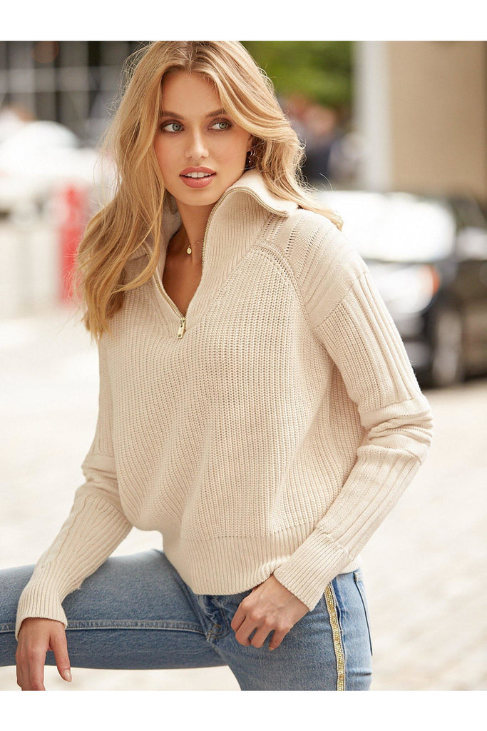 Cotton Quarter Zip Sweater - late bird
