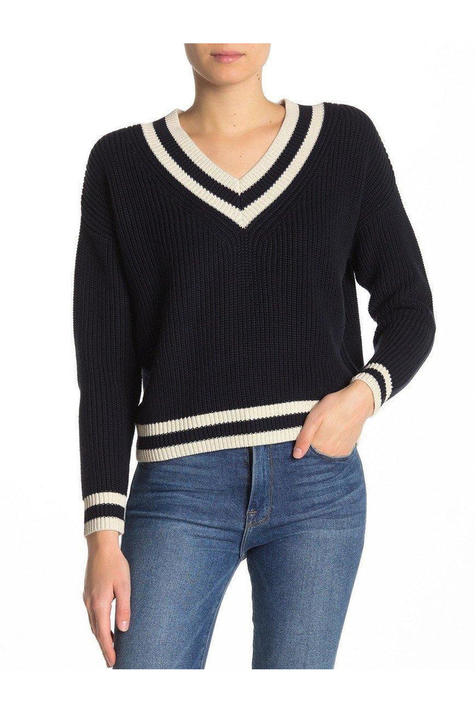 Cotton Shaker Cropped Varsity V-neck Sweater - late bird