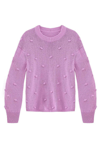 Cotton Shaker Popcorn Knit Sweater - late bird