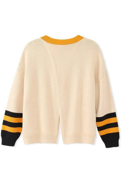 Cotton Shaker Varsity Split Back Sweater - late bird