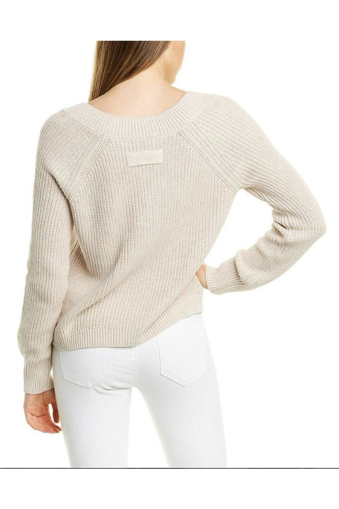 Cotton Shaker Wide V-neck Cropped Sweater with Pocket - late bird