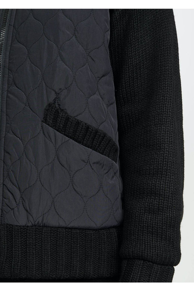 Fleece-Lined Quilted Sweater Jacket - late bird