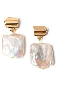 Gold Layered Dome with Freshwater Pearl Earring - late bird