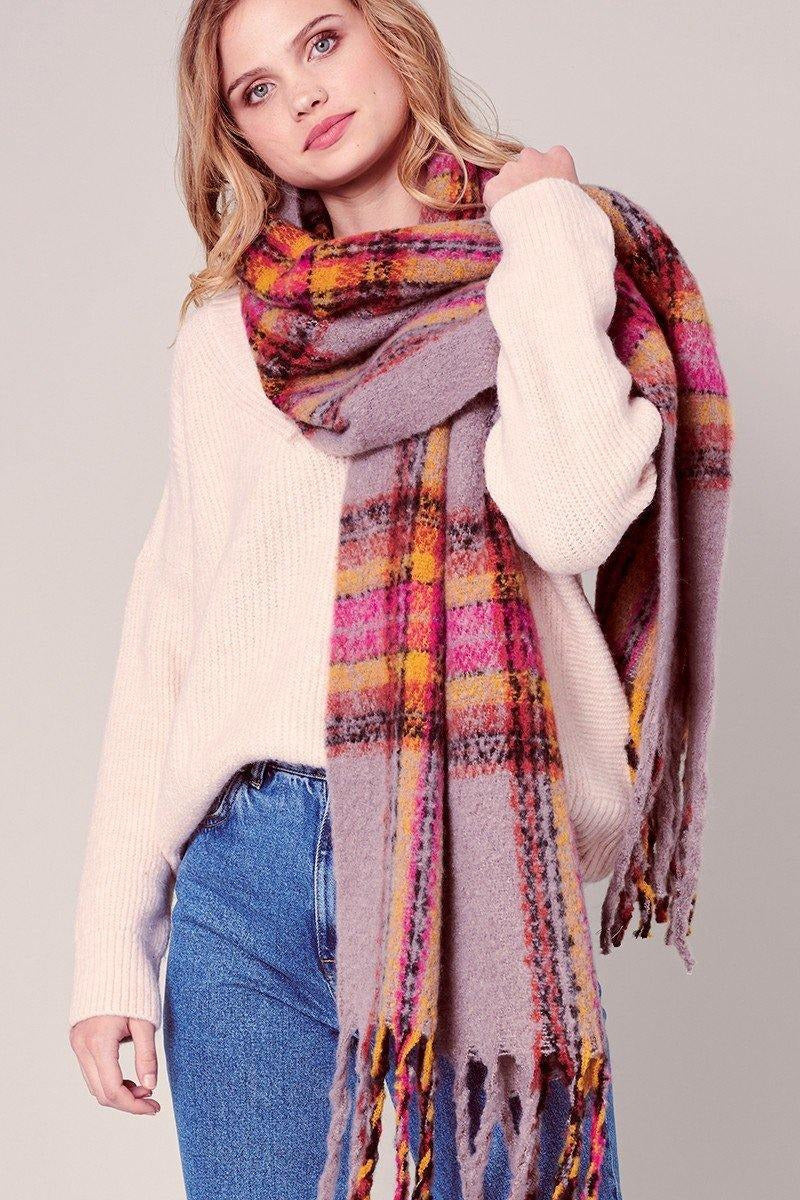 Janie Plaid Fringe Blanket Scarf - late bird