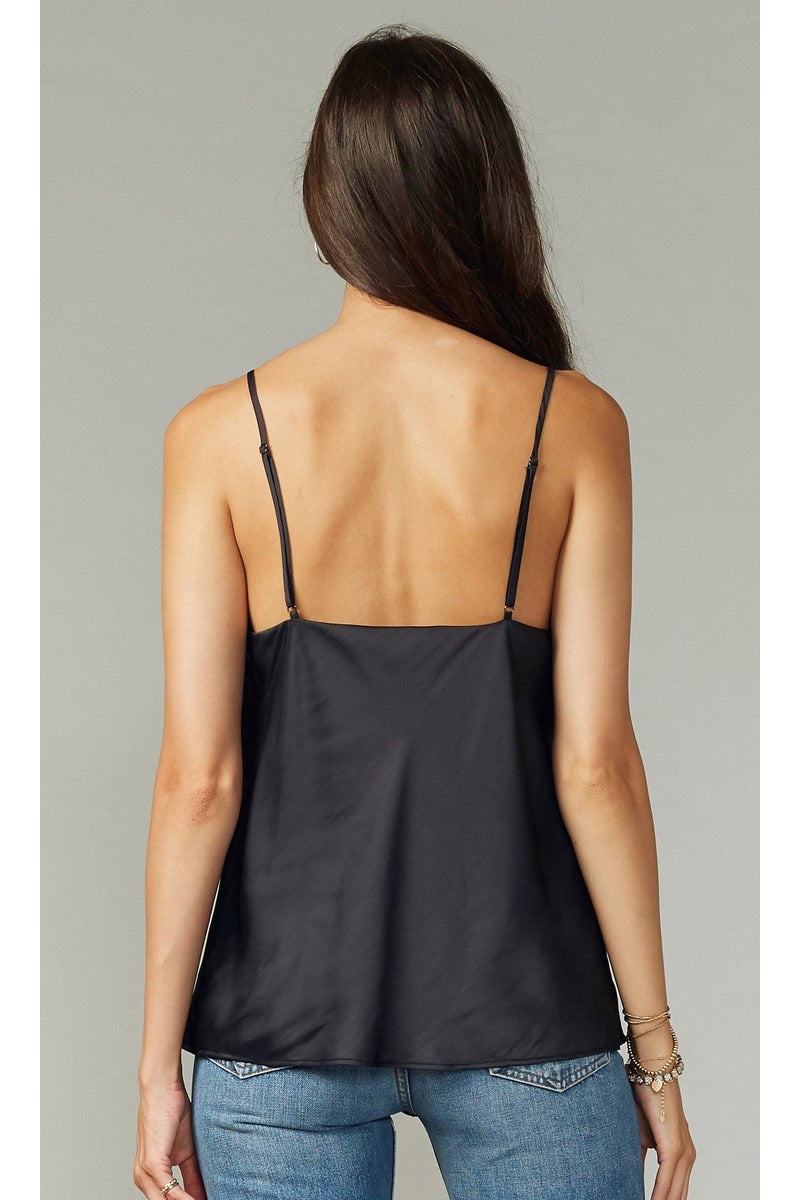 Keva Cowl Neck Cami in Black - late bird