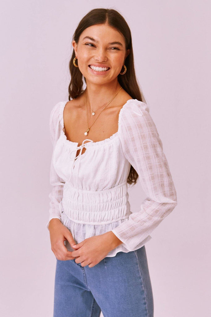 Lucietti Long-Sleeve Top in Ivory - late bird