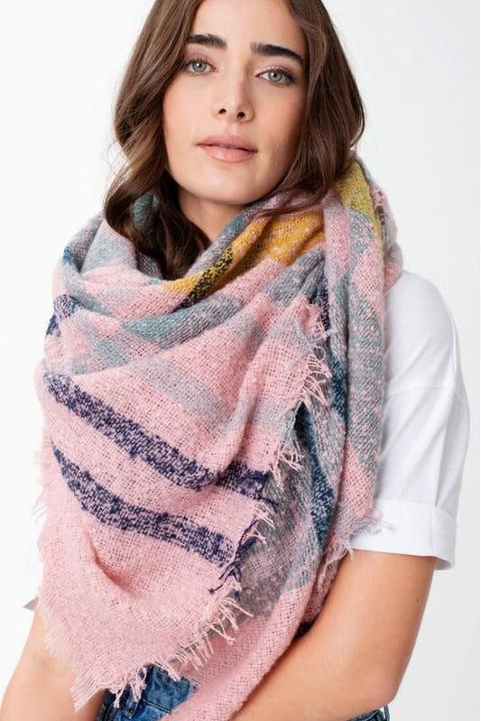 Lucy Fringed Plaid Blanket Scarf - late bird