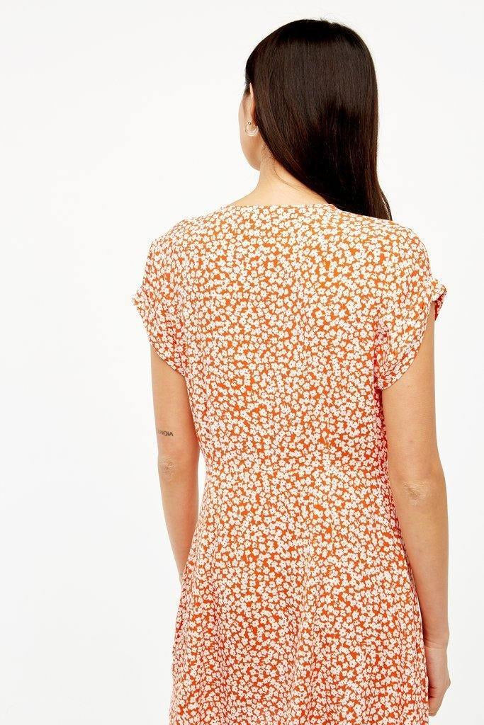Mabel Mini Dress in Tangerine Floral - late bird