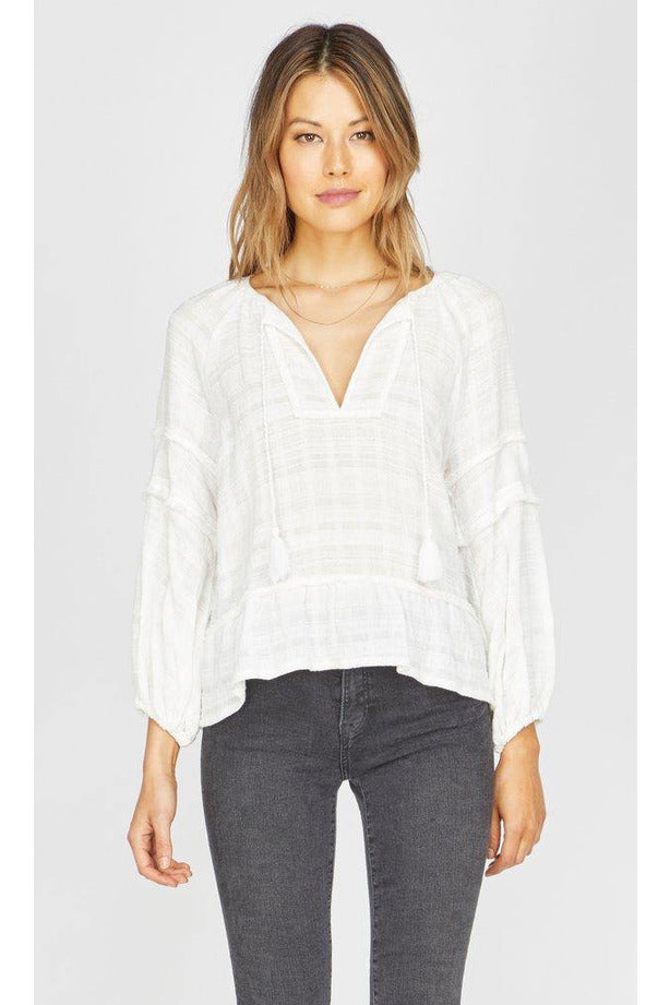 Marie Fringe Trim Long Sleeve Blouse - late bird