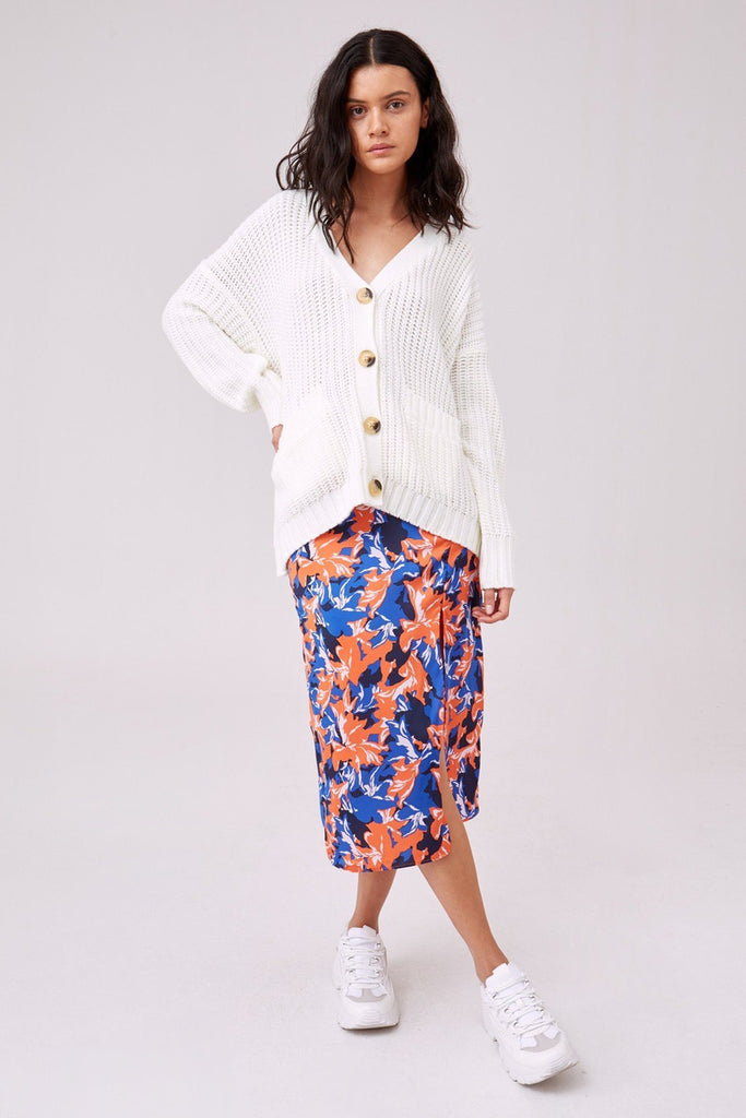 Novelty Knit Cardi in Porcelain - late bird