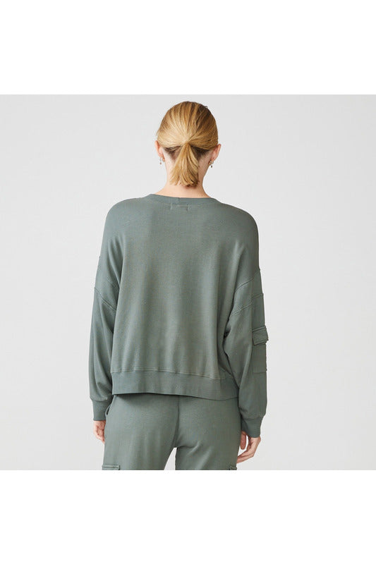 Patch Pocket Sweatshirt in Evergreen - late bird