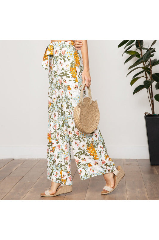 Pia Floral Tie Front Pant - late bird