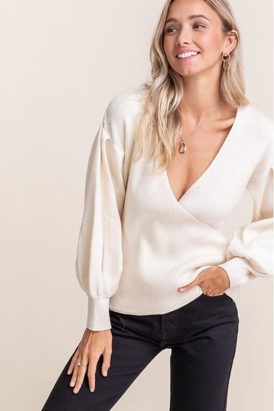 Ribbed Wrap Sweater - late bird