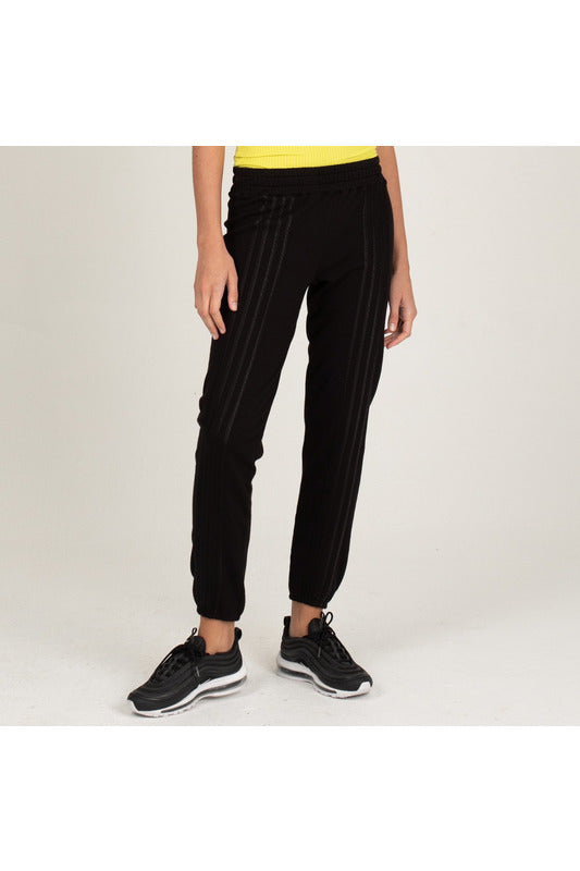 Satin Stripe Stitched Elastic Vintage Sweats - late bird
