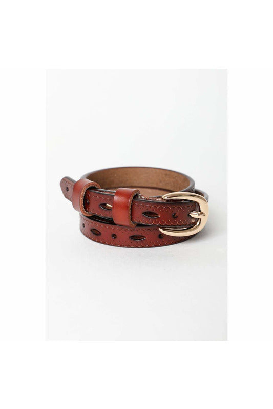 Scallop Skinny Leather Belt - late bird