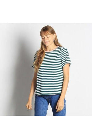 Striped Tee with Collar Contrast - late bird