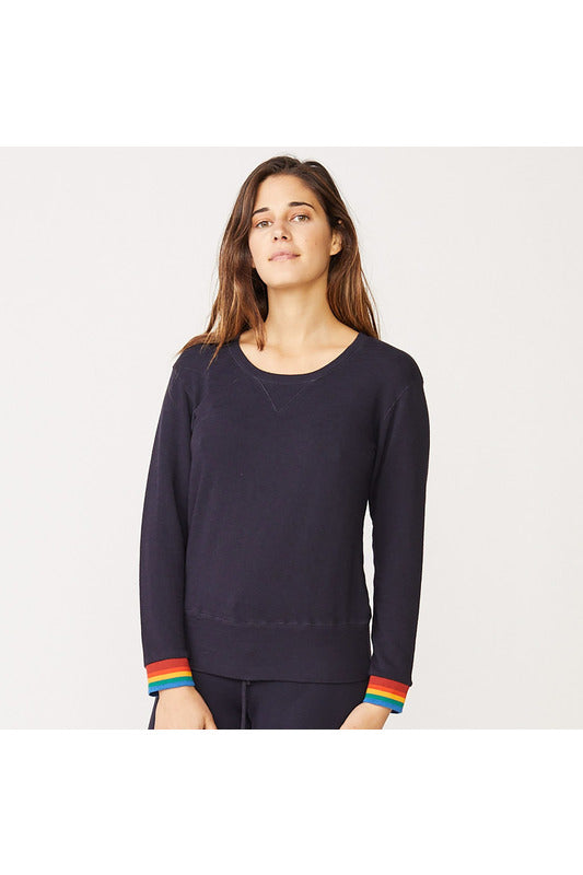 Supersoft Rainbow Cuff Crew Sweatshirt - late bird
