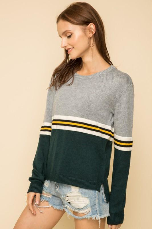 Varsity Stripe Colorblock Sweater - late bird