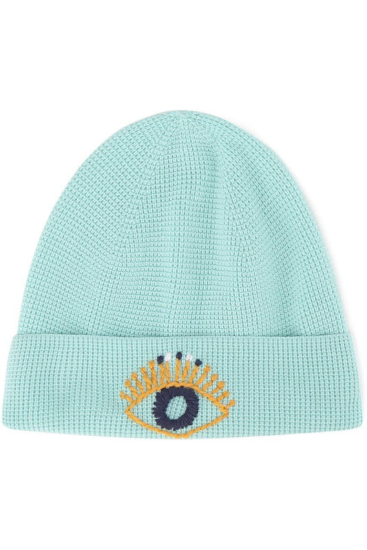 Waffle Stitch Embroidered Knit Beanie - late bird