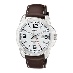 Casio Women's LTP1314L-7AV Brown Leather Quartz Watch with White Dial - TEXET