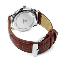 Ralph Pierre Sublime Stance Analog Watch with Brown Strap & White Dial