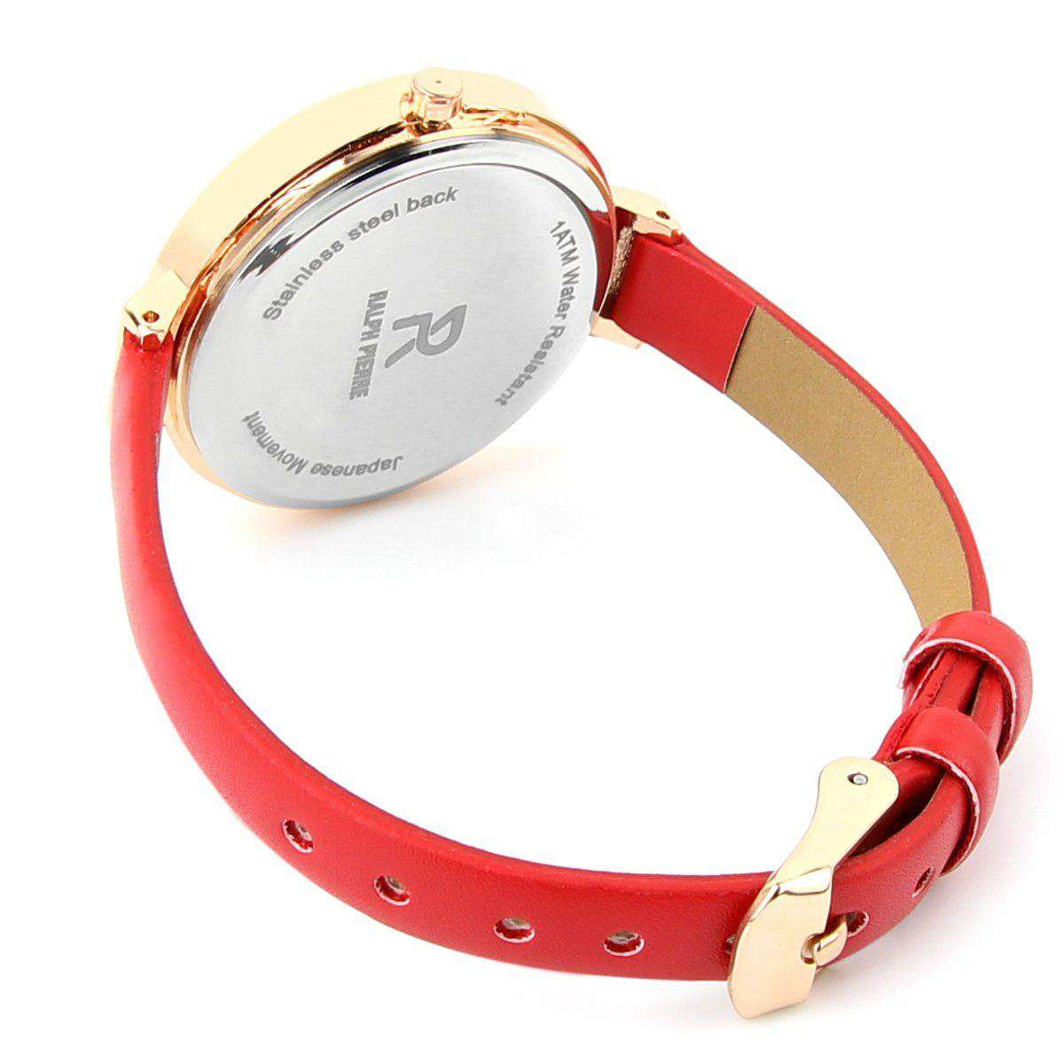 Ralph Pierre Sublime Blush Analog Watch With White Dial & Red Strap