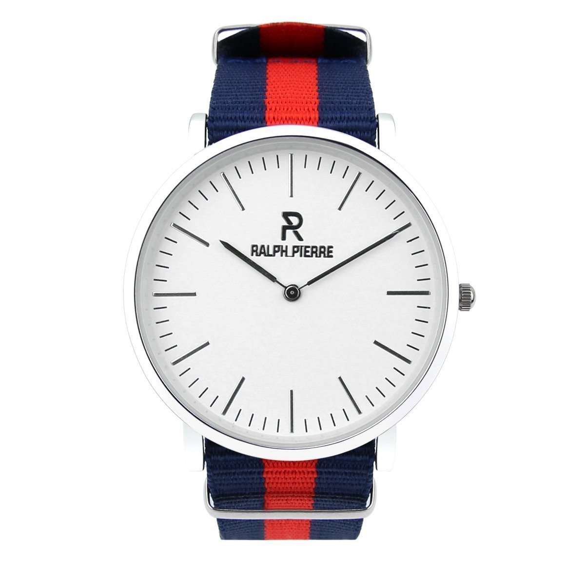 Ralph Pierre Bande Galloway Analog Watch With White Dial and  Red & Blue Strap