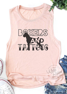 Boxers and Tattoos Women's Muscle Tank Top