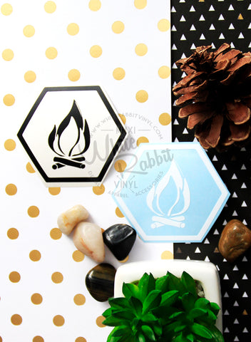 Camping Hex Bonfire Decal