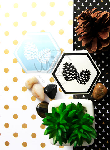 Camping Hex Pine Cone Decal