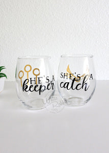 Harry Potter She's A Catch He's A Keeper Stemless Wineglass Set