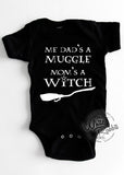 Me Dad's A Muggle Mom's A Witch Short-Sleeve Infant Onesie