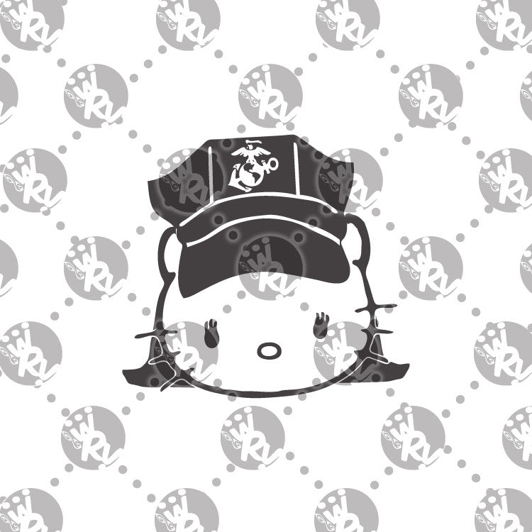 USMC Hello Kitty Female Marine 8 Point Cover Decal